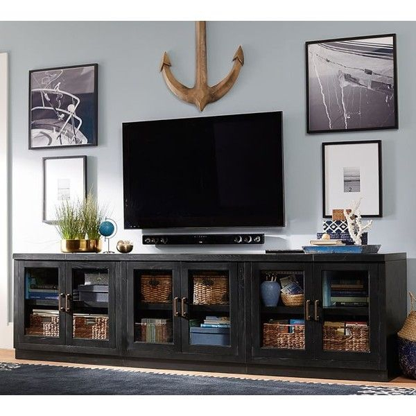 Newest Casey Umber 74 Inch Tv Stands Throughout Pottery Barn Reynolds Modular Home Office Long Low Media Stand:  (Image 22 of 25)