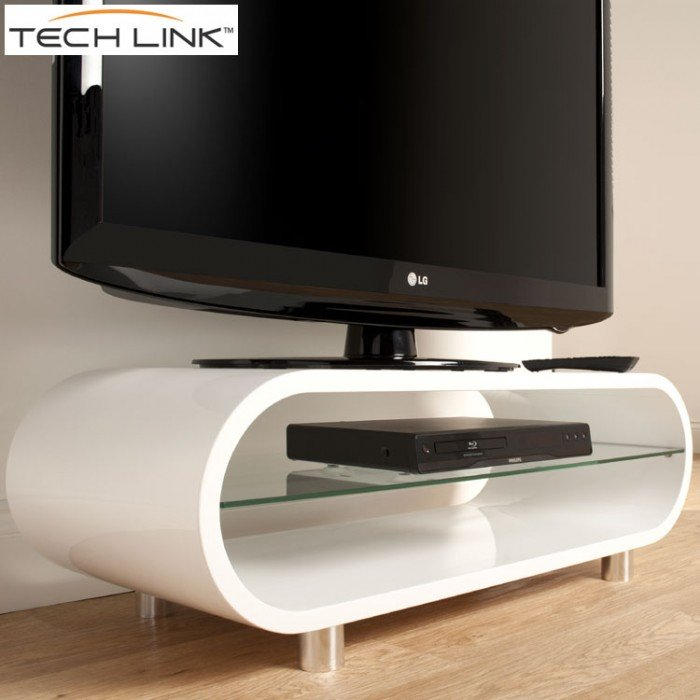 Newest Cheap White Tv Stands With Regard To Techlink Ovid Ov95W Gloss White Tv Stand (406011) (Photo 10 of 25)