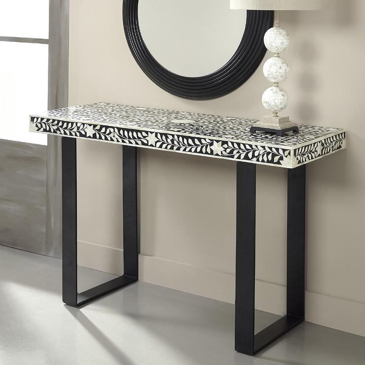 Newest Intarsia Console Tables With Stripped Bone Inlaid Black Bone Console Table (Image 22 of 25)