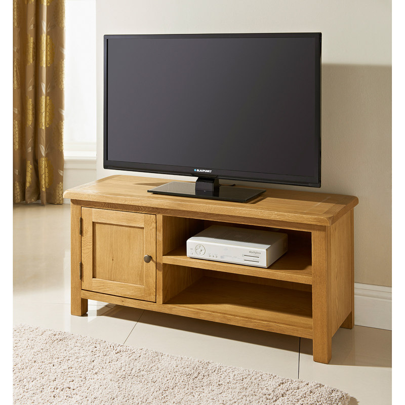 Newest Oak Furniture Tv Stands Regarding B&m Wiltshire Wide Tv Table –  (Image 16 of 25)