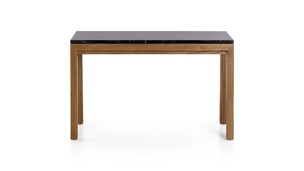 Newest Parsons Black Marble Top & Elm Base 48X16 Console Tables In Worlds Away Clear Glass Tops 2 Tier Bronze Table Wa Domino Brz (Image 16 of 25)