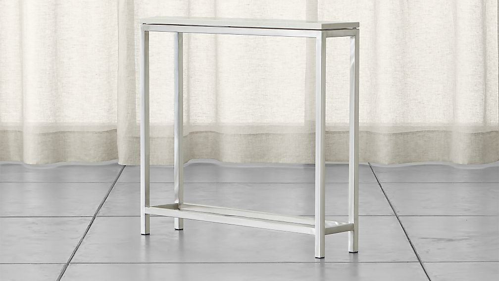 Newest Parsons Clear Glass Top & Stainless Steel Base 48X16 Console Tables Pertaining To Era Limestone Console Table (Photo 11 of 25)