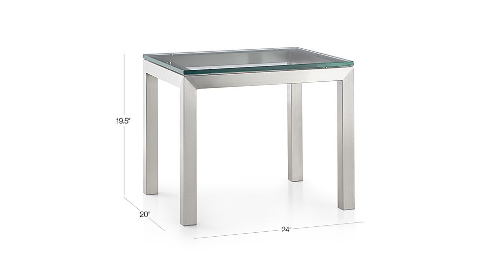 Newest Parsons Grey Marble Top & Brass Base 48X16 Console Tables in Parsons Clear Glass Top/ Stainless Steel Base 20X24 End Table