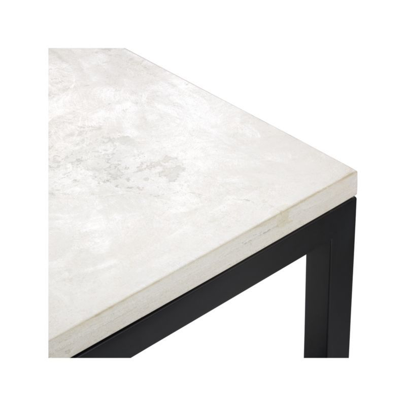 Featured Image of Parsons Travertine Top & Dark Steel Base 48X16 Console Tables
