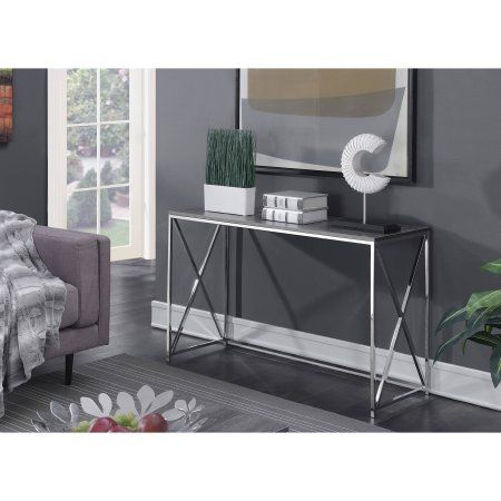 Newest Parsons Walnut Top & Dark Steel Base 48X16 Console Tables Pertaining To Convenience Concepts Belaire Console Table, Silver (Image 13 of 25)