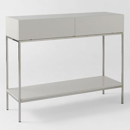 Newest Parsons White Marble Top & Dark Steel Base 48X16 Console Tables With Regard To Diy Gloss Laminate Console Table Ideas (Image 10 of 25)