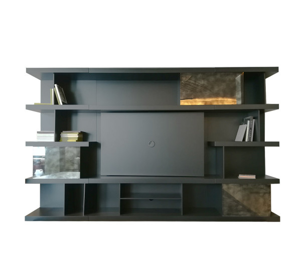Newest Tv Stands and Bookshelf for Natuzzi Italia Kubika Bookshelf With Tv Stand - Composition Dove