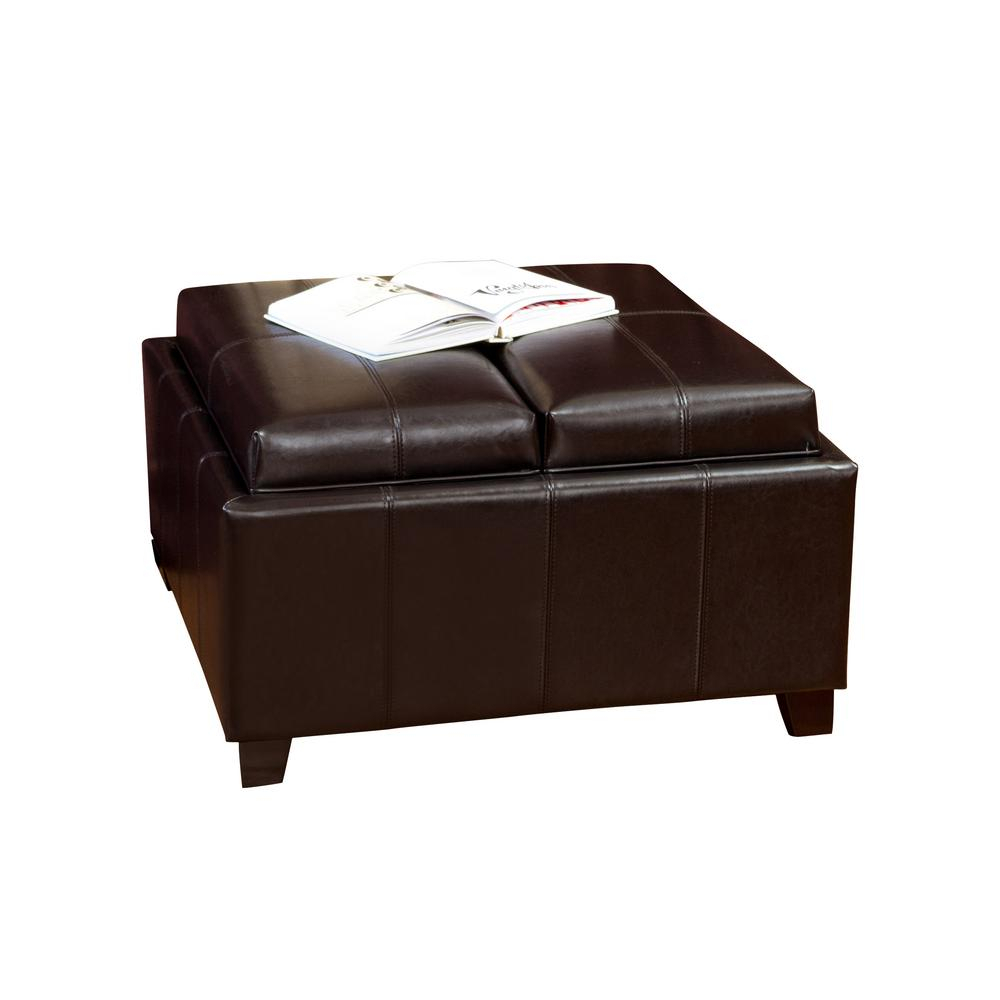 Noble House Mansfield Espresso Bonded Leather Tray Top Storage In Mansfield Cocoa Leather Sofa Chairs (View 7 of 25)
