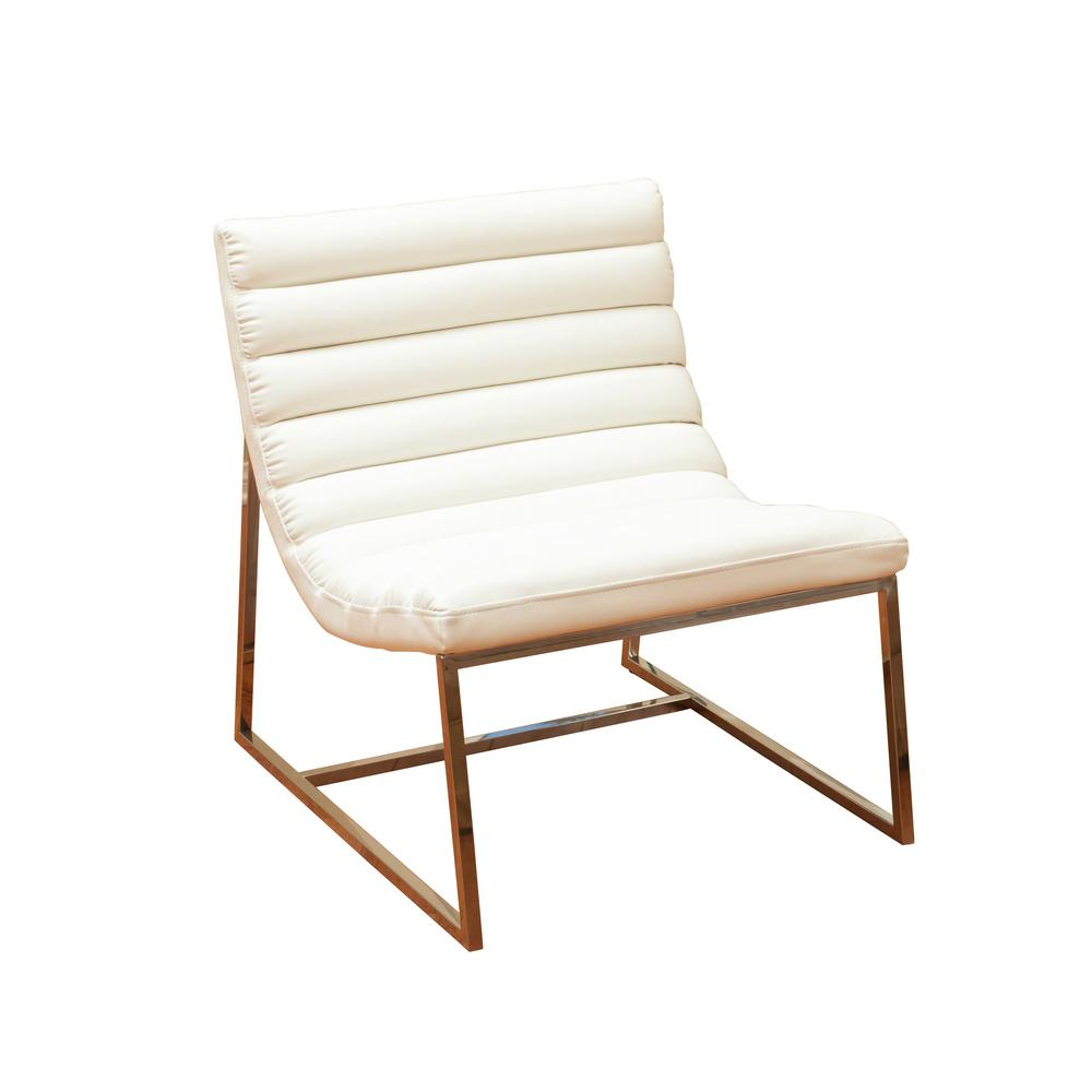 Noble House Parisian White Leather Sofa Chair 236325 – The Home Depot For Katrina Blue Swivel Glider Chairs (Image 16 of 25)