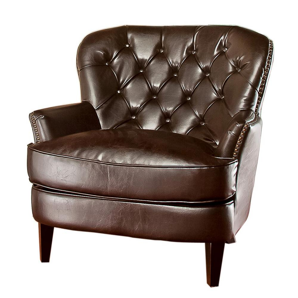 Noble House Tafton Brown Leather Tufted Club Chair-211347 - The Home for Chocolate Brown Leather Tufted Swivel Chairs