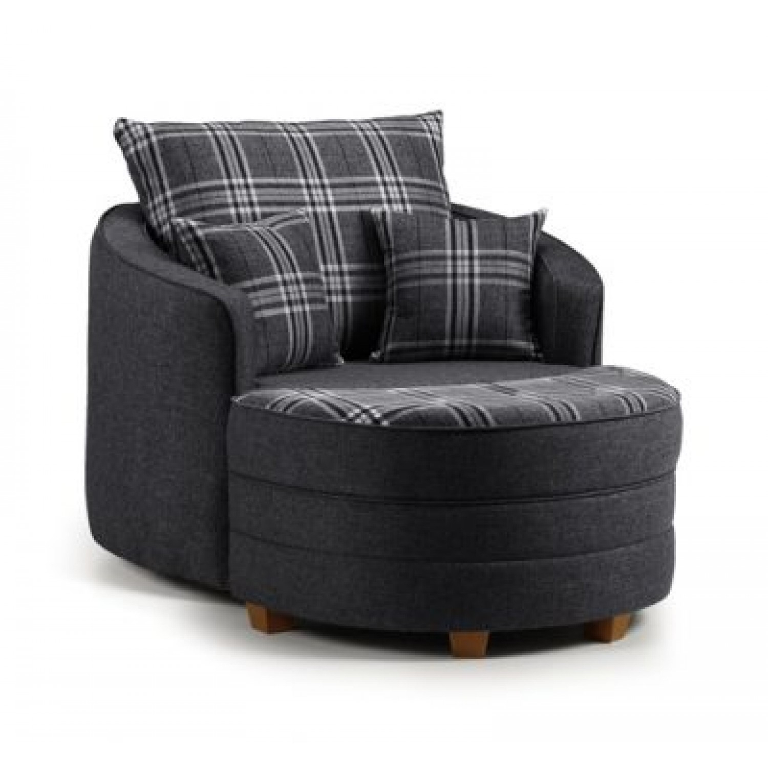 Note Swivel Cuddle Chair Charcoal Grey & Tartan With Half Moon Throughout Charcoal Swivel Chairs (Photo 6 of 25)