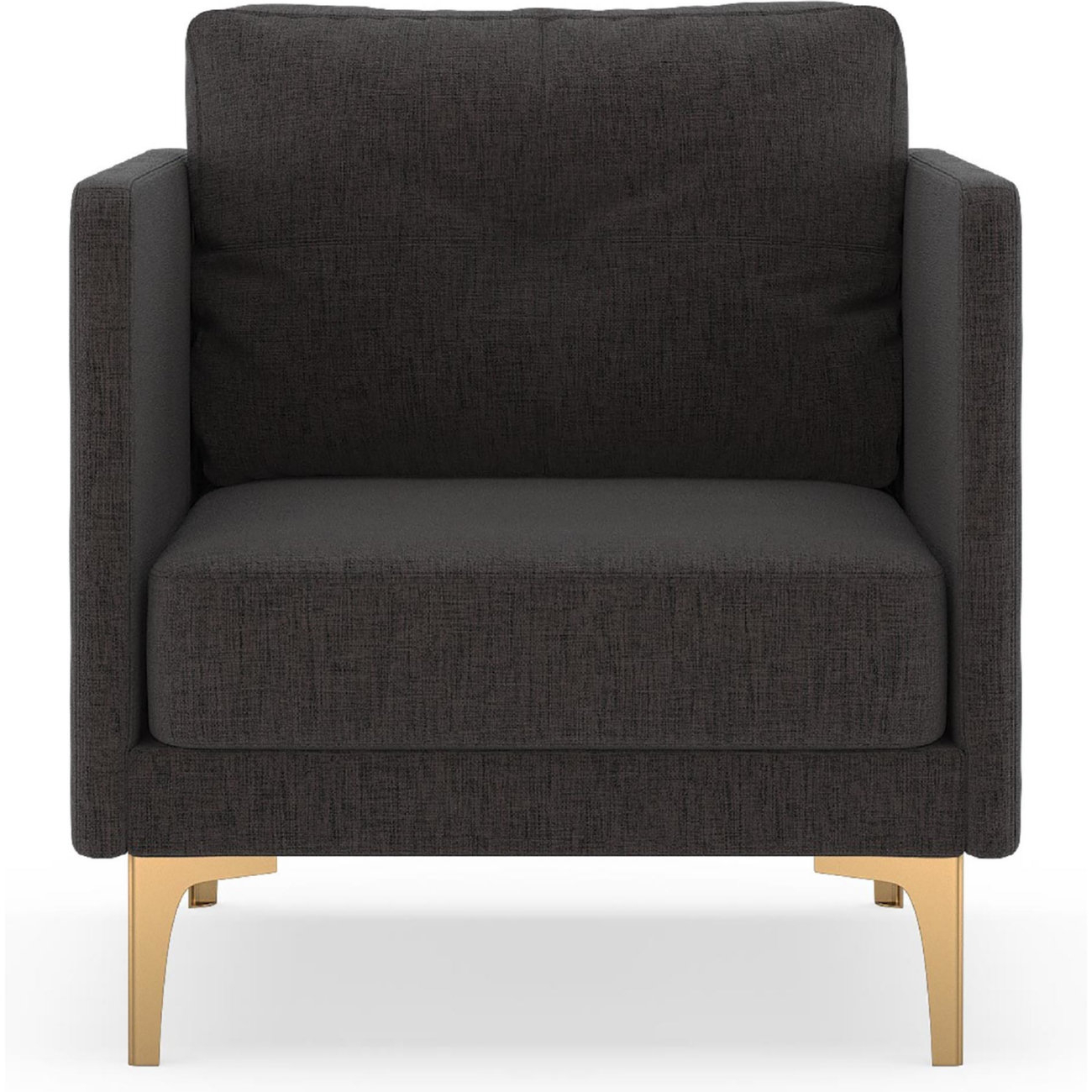 Nyekoncept 50060491 Tate Arm Chair In Slate Fabric On Brass Steel Inside Tate Arm Sofa Chairs (Image 11 of 25)
