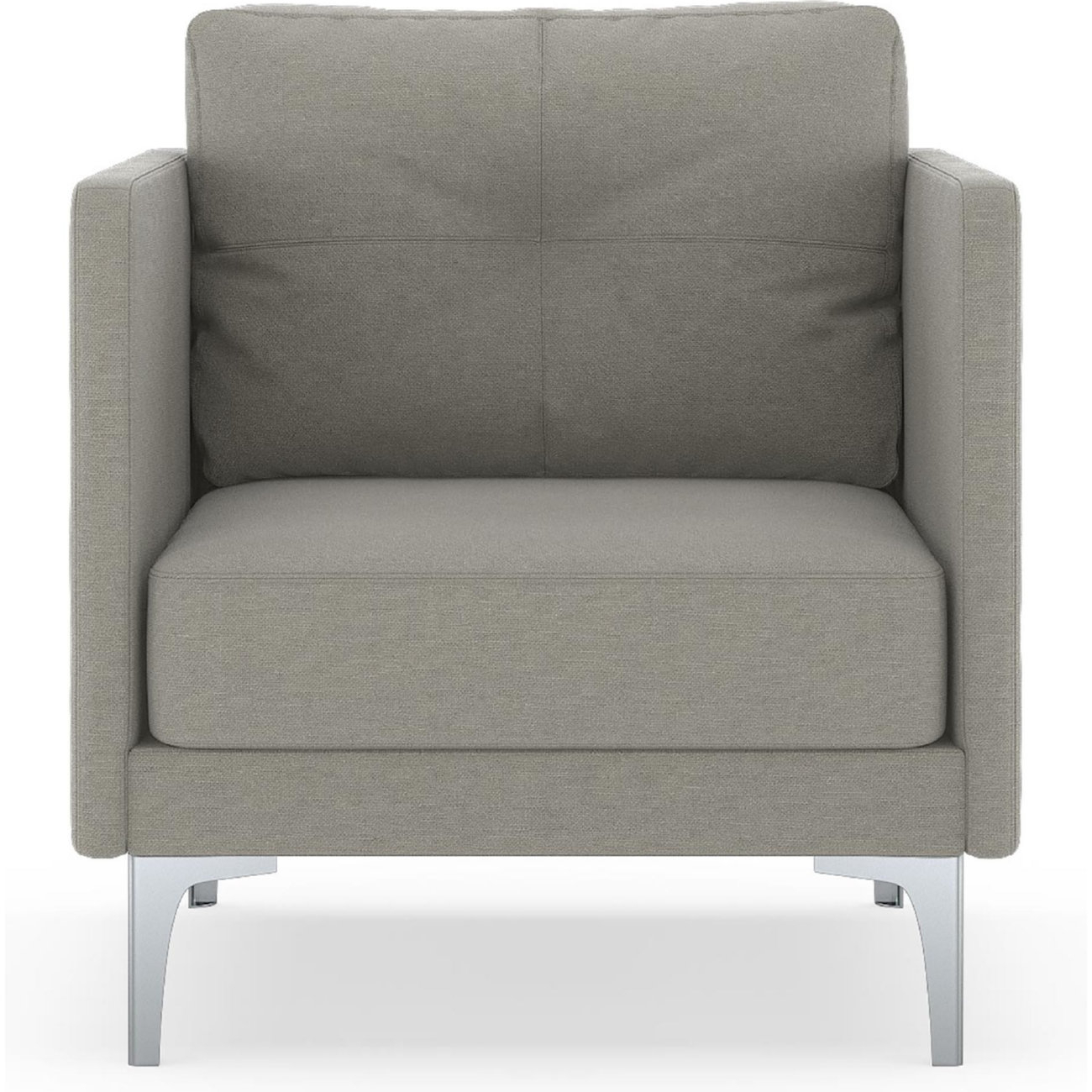 Nyekoncept 50060522 Tate Arm Chair In Cinder Gray Fabric On Chrome Intended For Tate Arm Sofa Chairs (Image 12 of 25)