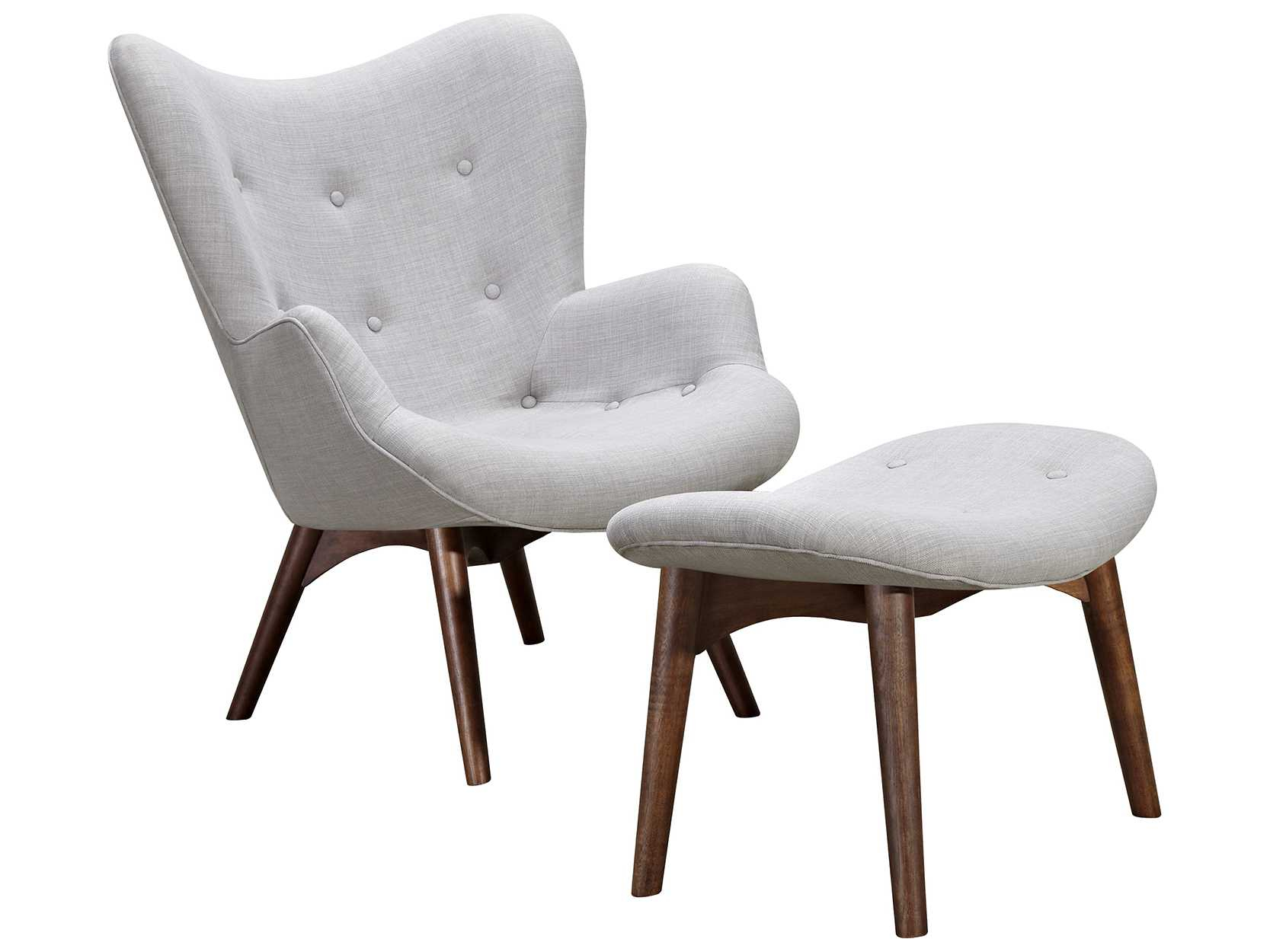 Nyekoncept Aiden Glacier White Accent Chair & Ottoman With Walnut throughout Aidan Ii Swivel Accent Chairs
