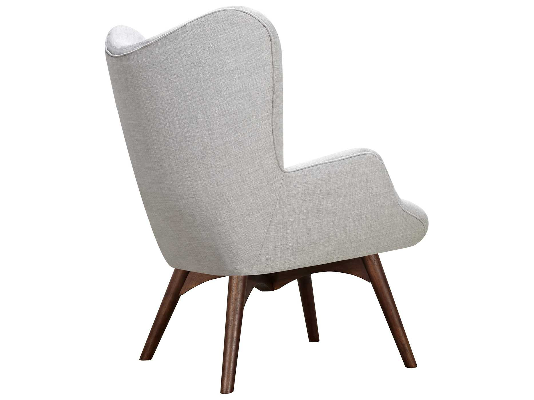Nyekoncept Aiden Glacier White Accent Chair & Ottoman With Walnut with Aidan Ii Swivel Accent Chairs