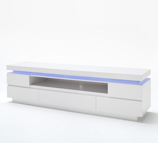 Odessa 5 Drawer Lowboard Tv Stand In High Gloss White With Led Regarding Preferred Gloss White Tv Cabinets (Image 11 of 25)