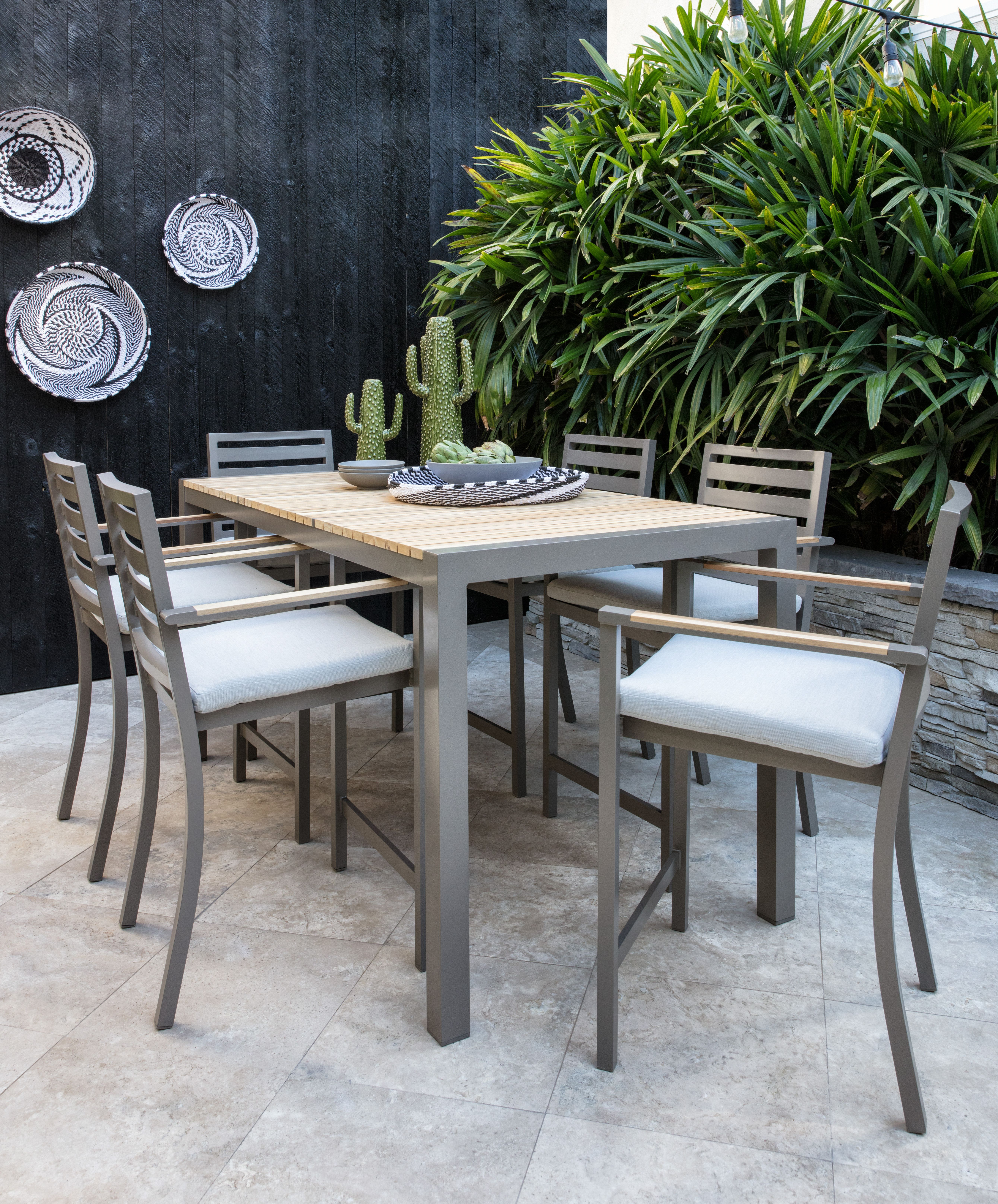 Outdoor Brasilia Teak 7 Piece High Dining Set | Outdoor Furniture Within Outdoor Koro Swivel Chairs (Photo 21 of 25)
