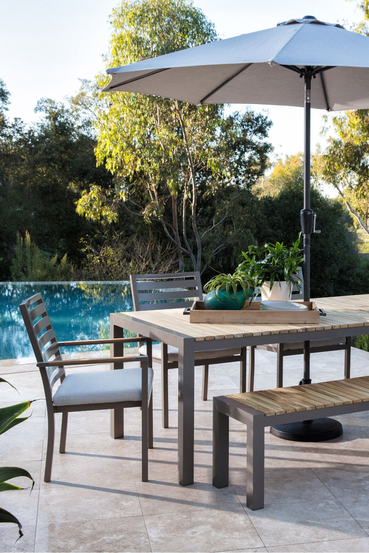 Outdoor Brasilia Teak Dining Table With 4 Chairs And 1 Bench In 2018 within Outdoor Koro Swivel Chairs