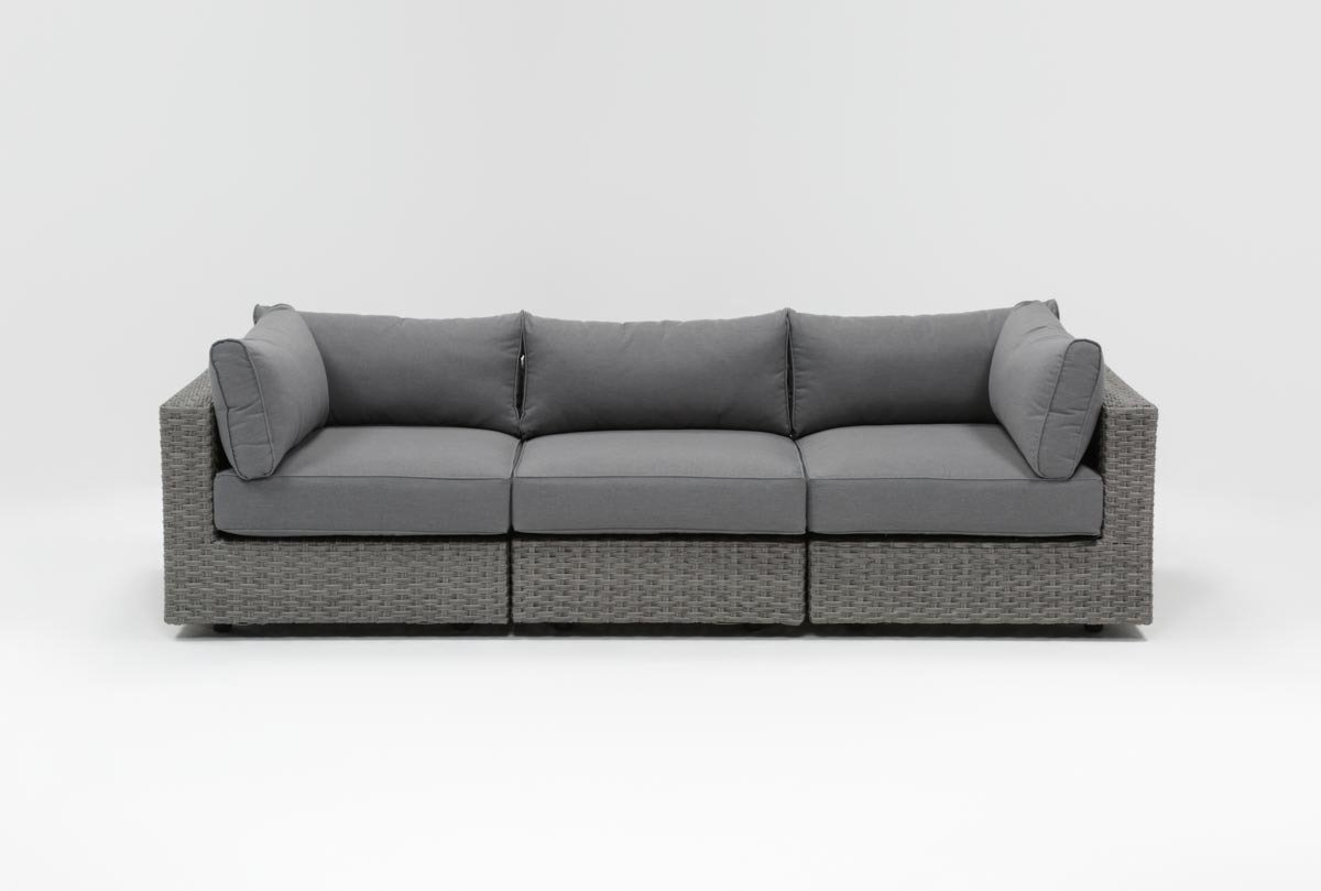 Outdoor Koro 3 Piece Sectional | Living Spaces Intended For Outdoor Koro Swivel Chairs (Photo 10 of 25)