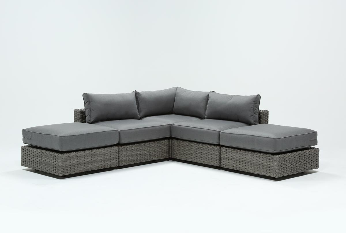 Outdoor Koro 5 Piece Sectional W/2 Ottomans | Living Spaces Within Outdoor Koro Swivel Chairs (Image 15 of 25)