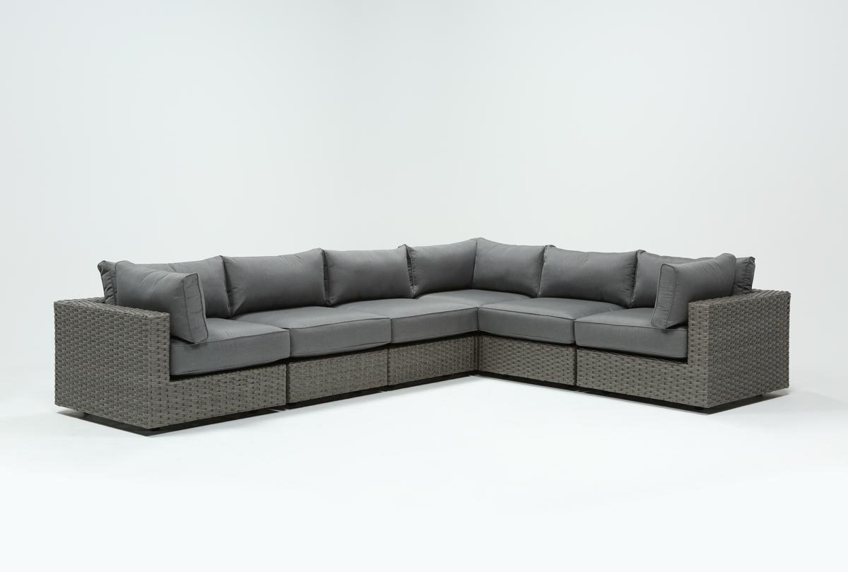 Outdoor Koro 6 Piece Sectional W/3 Corners | Living Spaces Regarding Outdoor Koro Swivel Chairs (Image 16 of 25)