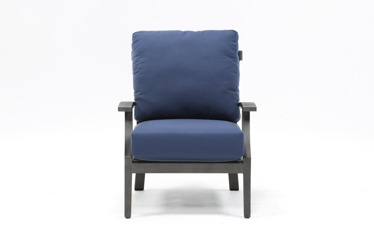 Outdoor Martinique Navy Lounge Chair | Living Spaces Regarding Outdoor Koro Swivel Chairs (Image 19 of 25)