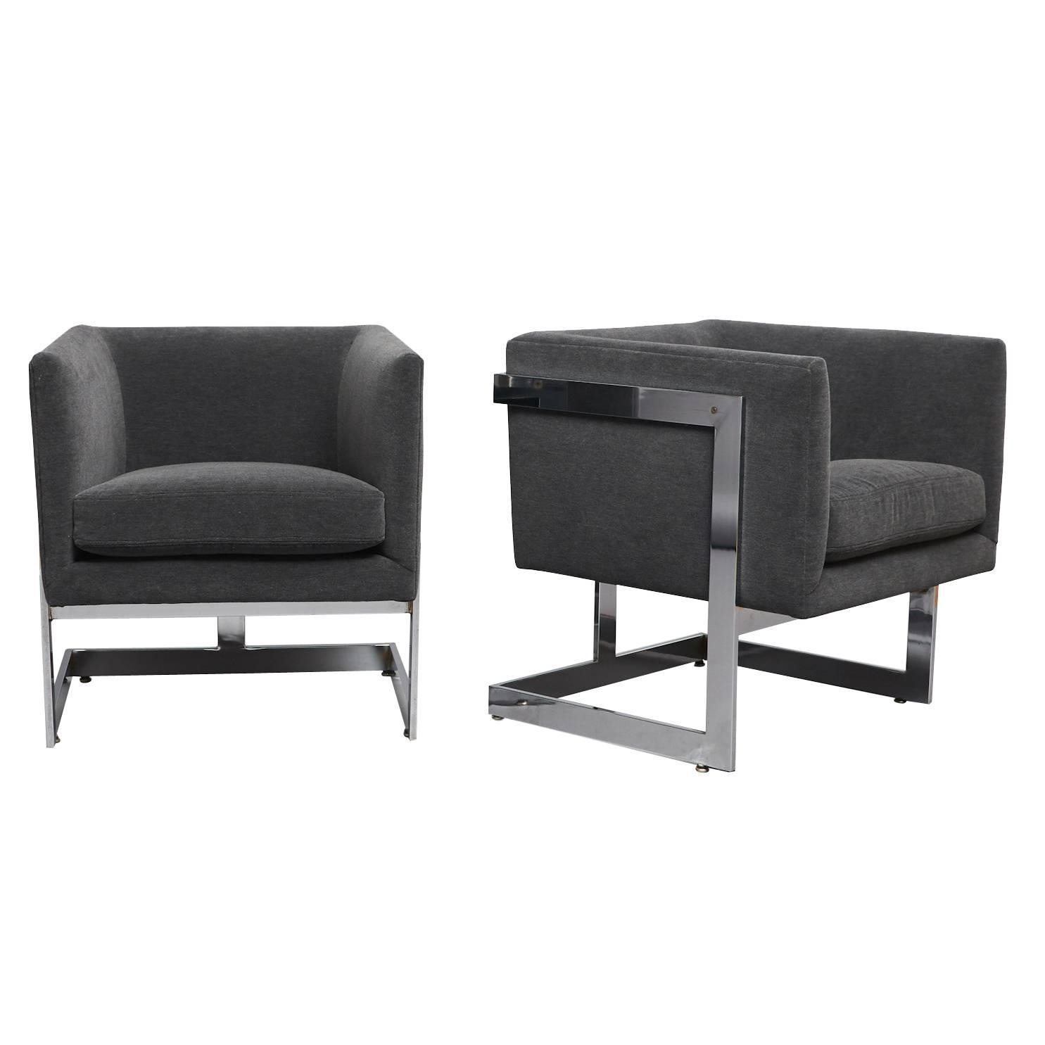 """Pair Of Club Chairs Milo Baughman, """"t Back"""" For Sale At 1Stdibs throughout Milo Sofa Chairs"""