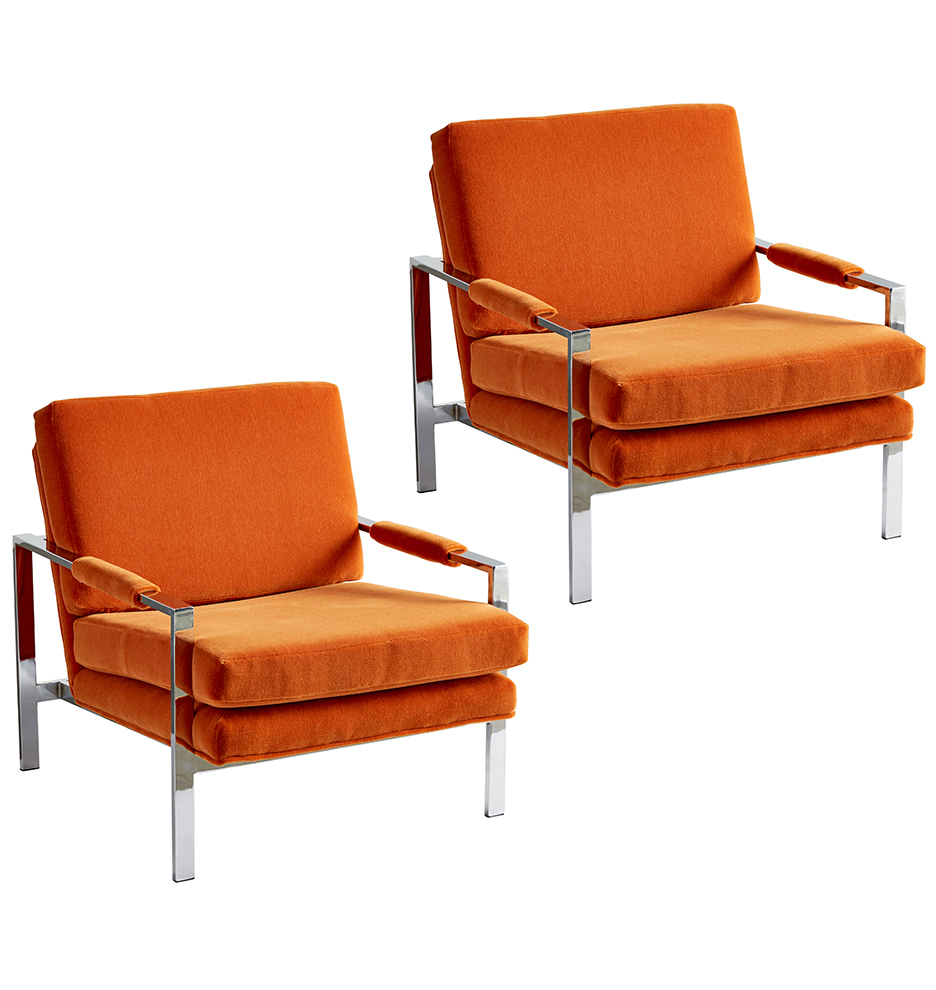 Pair Of Milo Baughman Style Chrome Lounge Chairs | Rejuvenation Within Milo Sofa Chairs (Image 21 of 25)