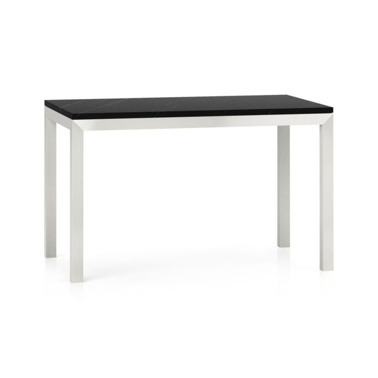 Parsons Black Marble Top/ Stainless Steel Base 48X28 Dining for Newest Parsons Black Marble Top & Brass Base 48X16 Console Tables