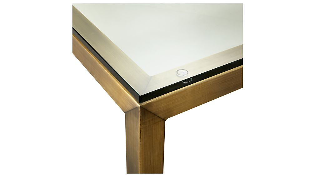Parsons Clear Glass Top/ Brass Base 20X24 End Table + Reviews Throughout Trendy Parsons Clear Glass Top & Brass Base 48X16 Console Tables (Image 18 of 25)