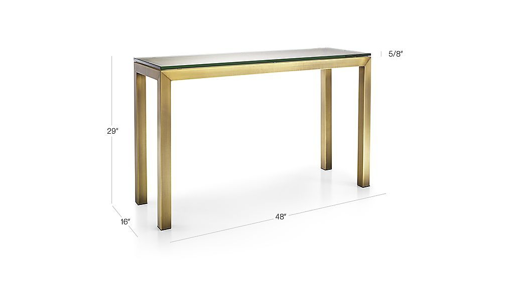 Parsons Clear Glass Top/ Brass Base 48X16 Console (Image 19 of 25)