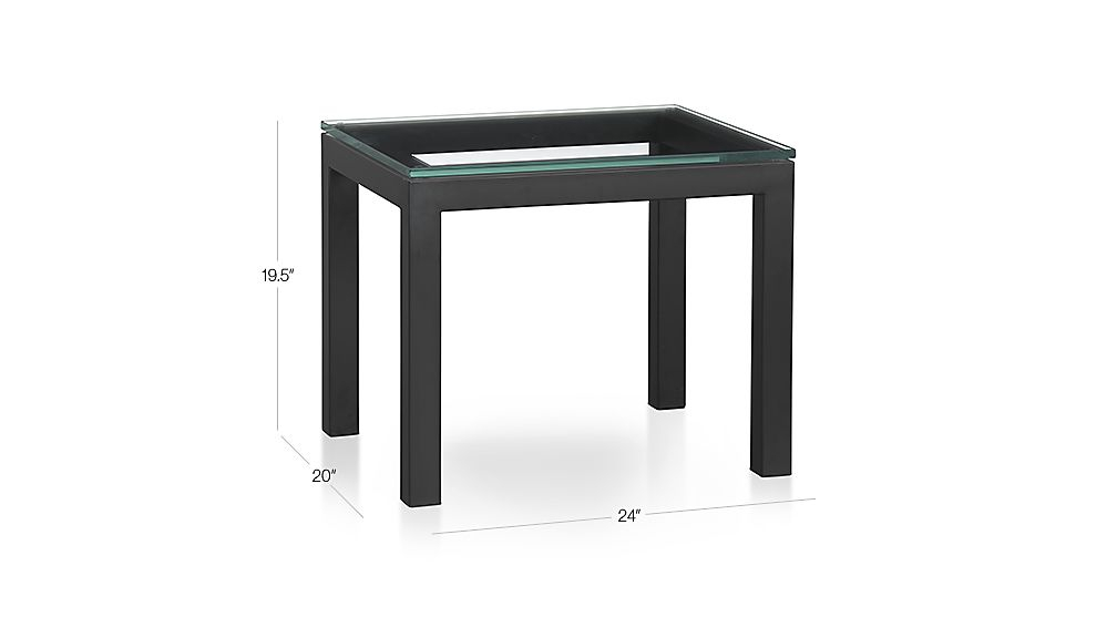 Parsons Clear Glass Top/ Dark Steel Base 20X24 End Table (Image 14 of 25)