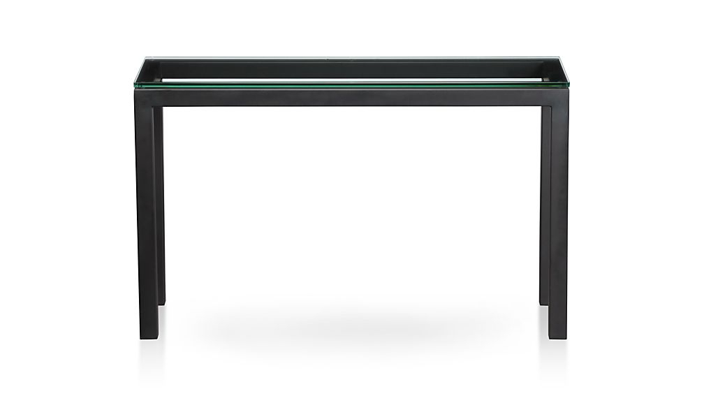 Parsons Clear Glass Top/ Dark Steel Base 48X16 Console + Reviews Pertaining To Most Recent Parsons Clear Glass Top & Stainless Steel Base 48X16 Console Tables (Image 9 of 25)