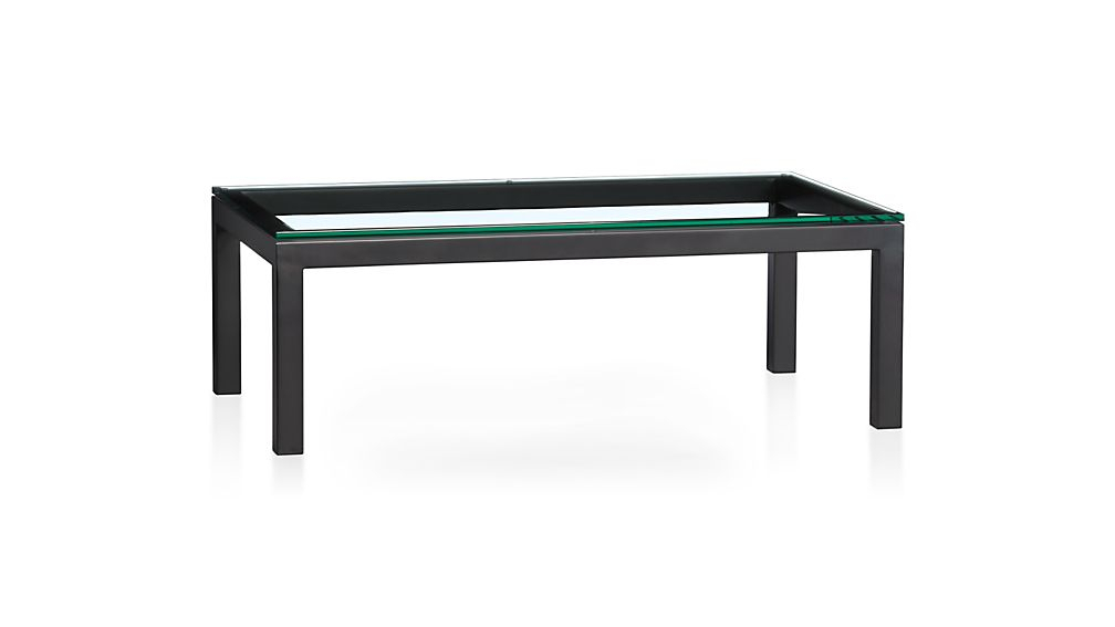 Parsons Clear Glass Top/ Dark Steel Base 48X28 Small Rectangular Intended For Most Recently Released Parsons Clear Glass Top & Stainless Steel Base 48X16 Console Tables (Image 10 of 25)