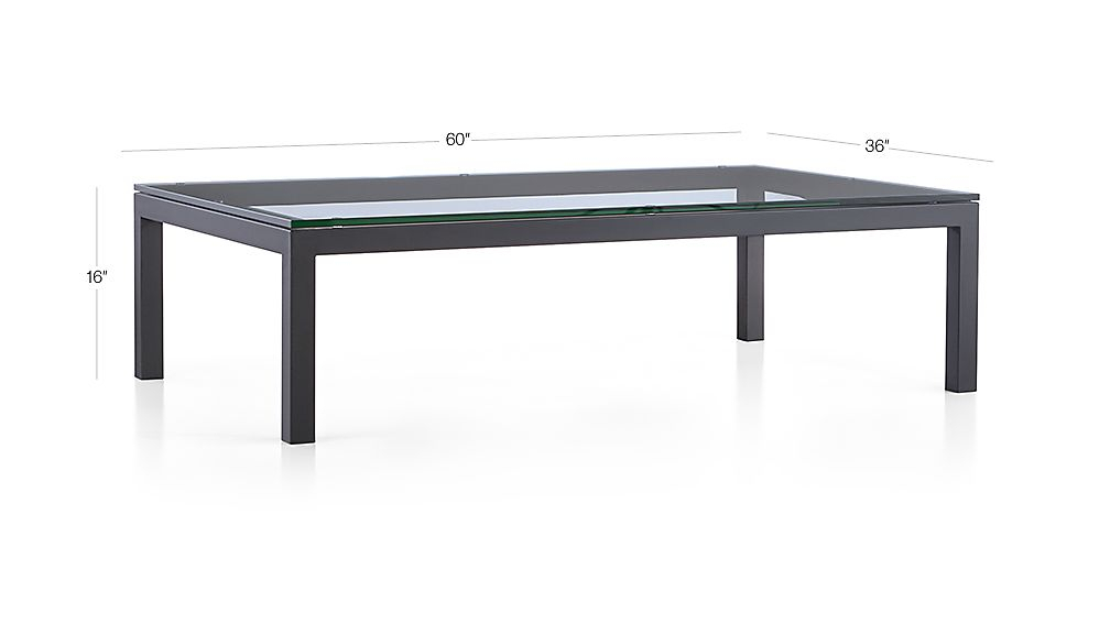 Parsons Clear Glass Top/ Dark Steel Base 60X36 Large Rectangular For Famous Parsons Clear Glass Top & Stainless Steel Base 48X16 Console Tables (Image 11 of 25)
