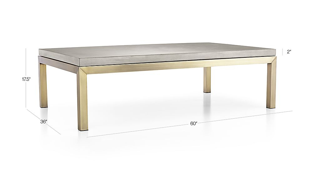 Parsons Concrete Top/ Brass Base 60X36 Large Rectangular Coffee In Well Known Parsons Concrete Top & Brass Base 48X16 Console Tables (Image 17 of 25)