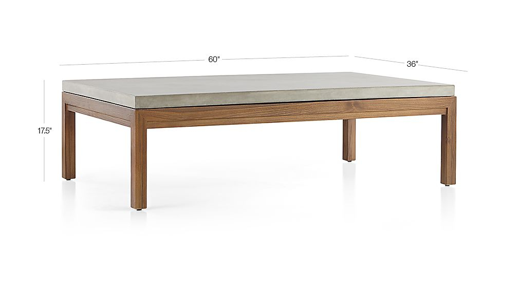 Parsons Concrete Top/ Elm Base 60X36 Large Rectangular Coffee Table In Well Known Parsons White Marble Top & Brass Base 48X16 Console Tables (Image 14 of 25)