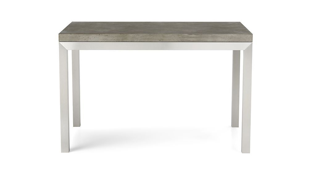 Parsons Concrete Top/ Stainless Steel Base 60X36 Dining Table Inside Well Known Parsons Grey Marble Top & Elm Base 48X16 Console Tables (Image 16 of 25)