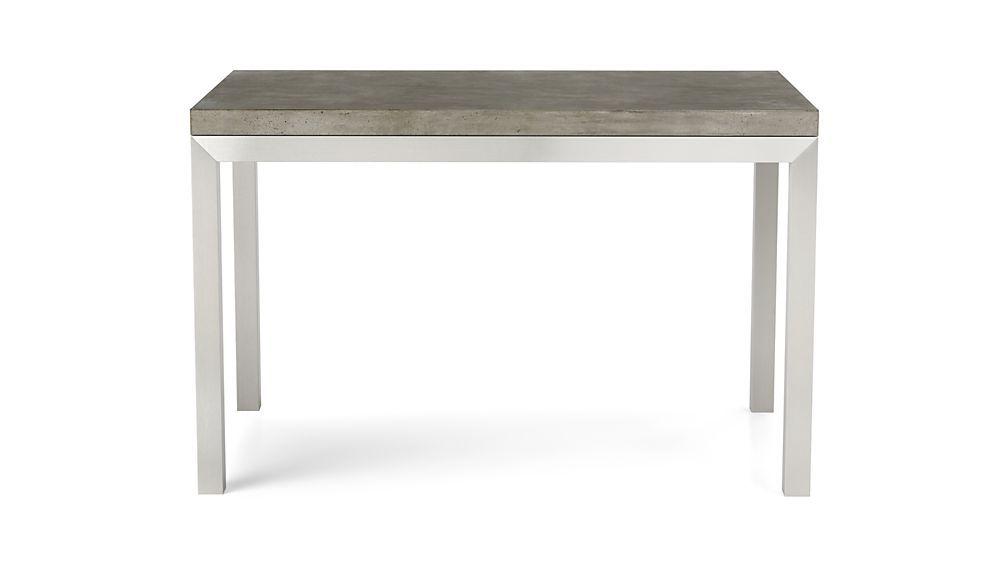 Parsons Concrete Top/ Stainless Steel Base 60X36 Dining Table Regarding Fashionable Parsons Concrete Top & Elm Base 48X16 Console Tables (Image 21 of 25)