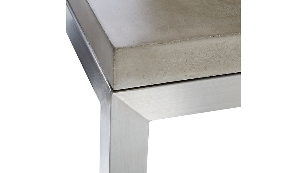 Parsons Concrete Top/ Stainless Steel Base 60X36 Large Rectangular intended for Well known Parsons Concrete Top & Elm Base 48X16 Console Tables