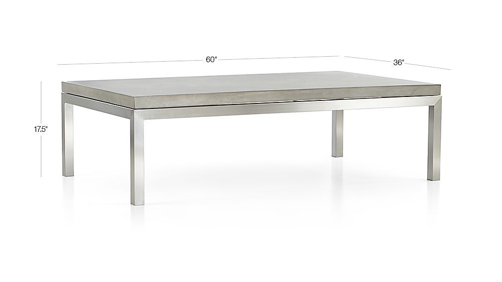 Parsons Concrete Top/ Stainless Steel Base 60X36 Large Rectangular Within Well Known Parsons Travertine Top & Dark Steel Base 48X16 Console Tables (Image 16 of 25)