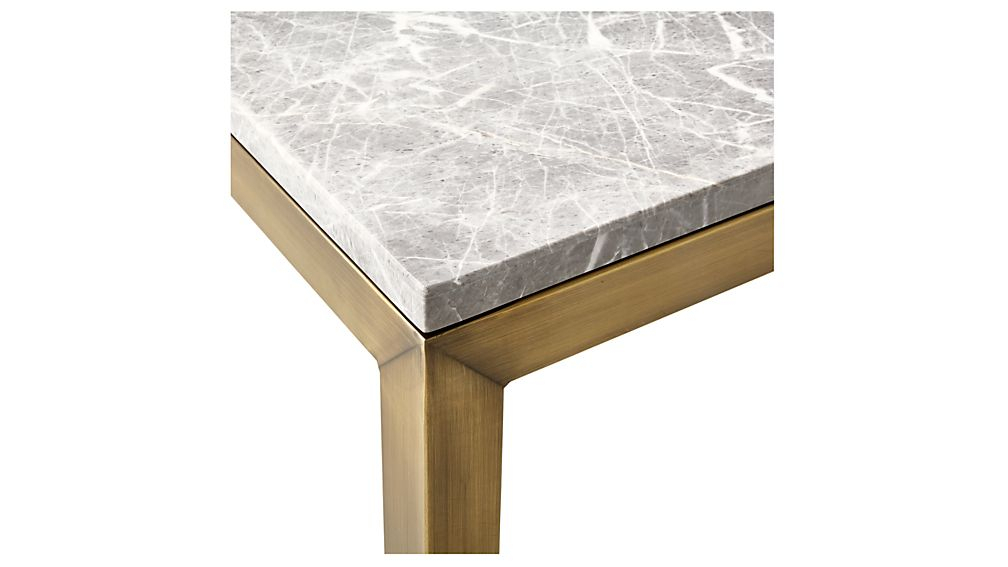 Parsons Grey Marble Top/ Brass Base 20X24 End Table + Reviews Pertaining To Well Liked Parsons Grey Marble Top & Brass Base 48X16 Console Tables (View 2 of 25)