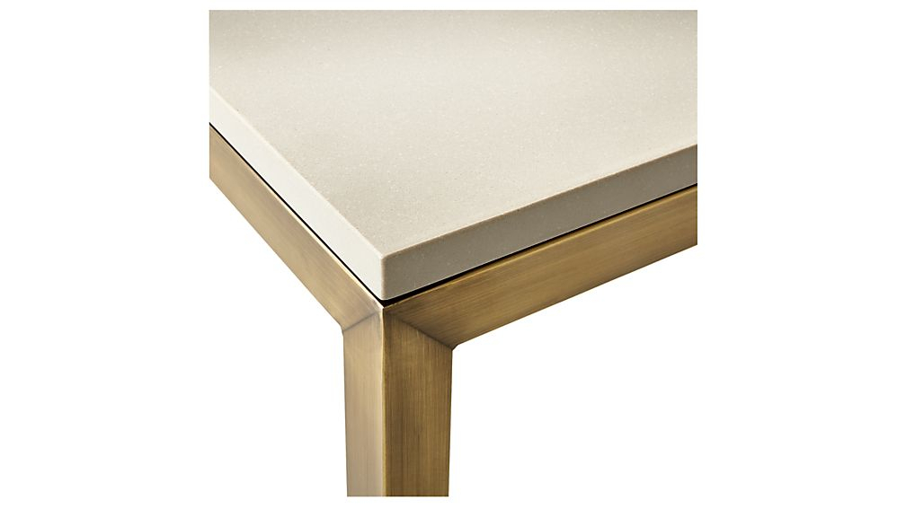 Parsons Grey Solid Surface Top/ Brass Base 20X24 End Table + Reviews with Most Recent Parsons Grey Solid Surface Top & Dark Steel Base 48X16 Console Tables