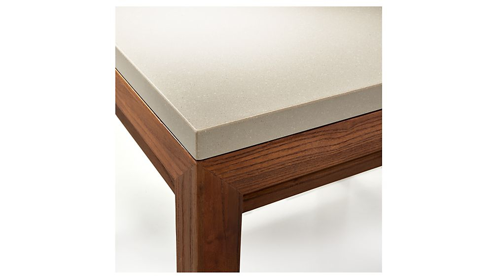 Parsons Grey Solid Surface Top/ Elm Base 48X28 Small Rectangular In Trendy Parsons Grey Solid Surface Top & Stainless Steel Base 48X16 Console Tables (Image 13 of 25)