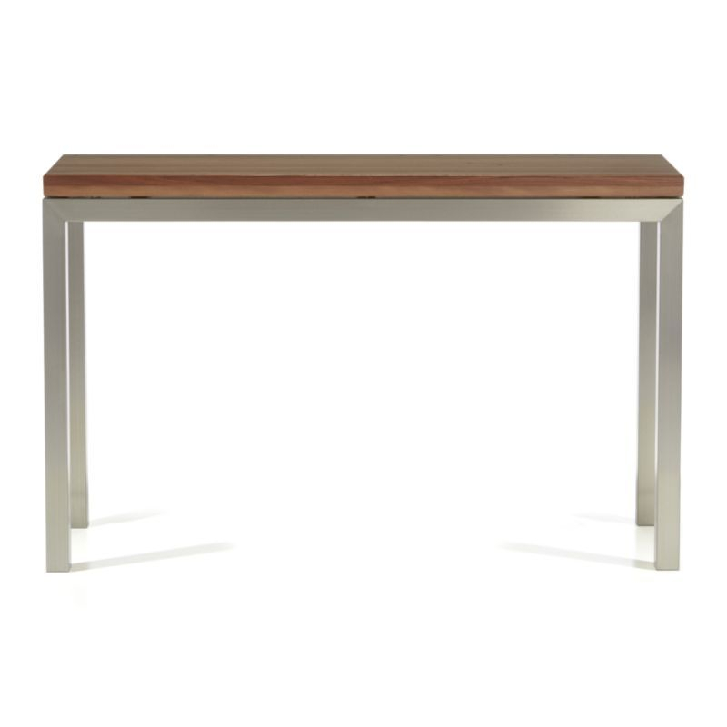 Parsons Reclaimed Wood Top/ Stainless Steel Base 48X16 Console Inside Widely Used Parsons Grey Solid Surface Top & Dark Steel Base 48X16 Console Tables (Image 16 of 25)