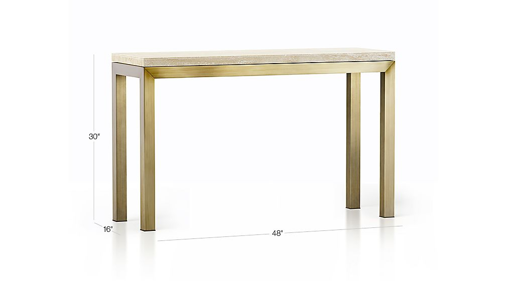 Featured Image of Parsons Travertine Top & Elm Base 48X16 Console Tables