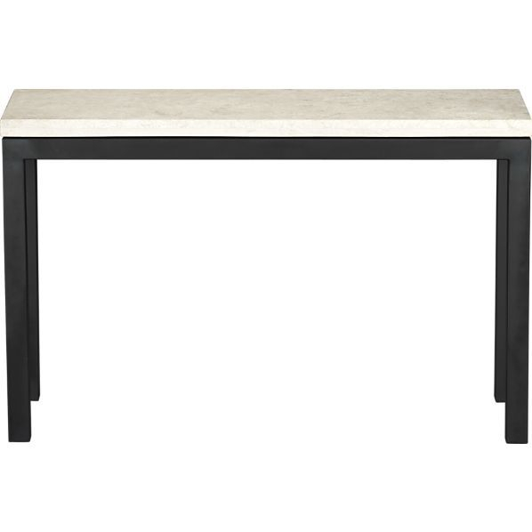 Parsons Travertine Top/ Dark Steel Base 48X16 Console (Image 14 of 25)