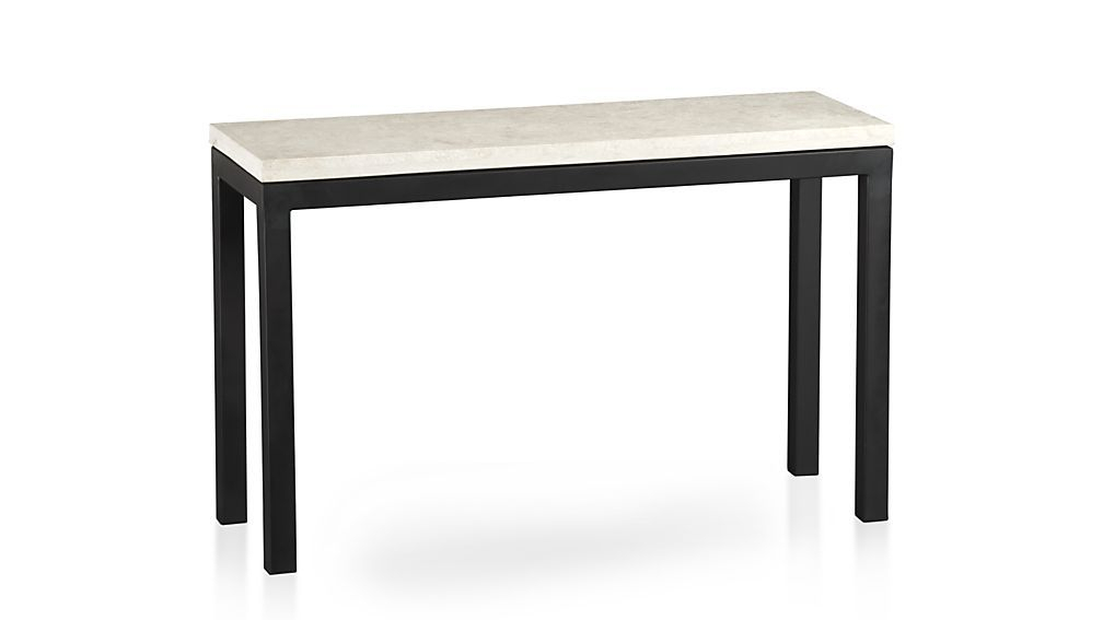 Featured Image of Parsons Concrete Top & Dark Steel Base 48X16 Console Tables