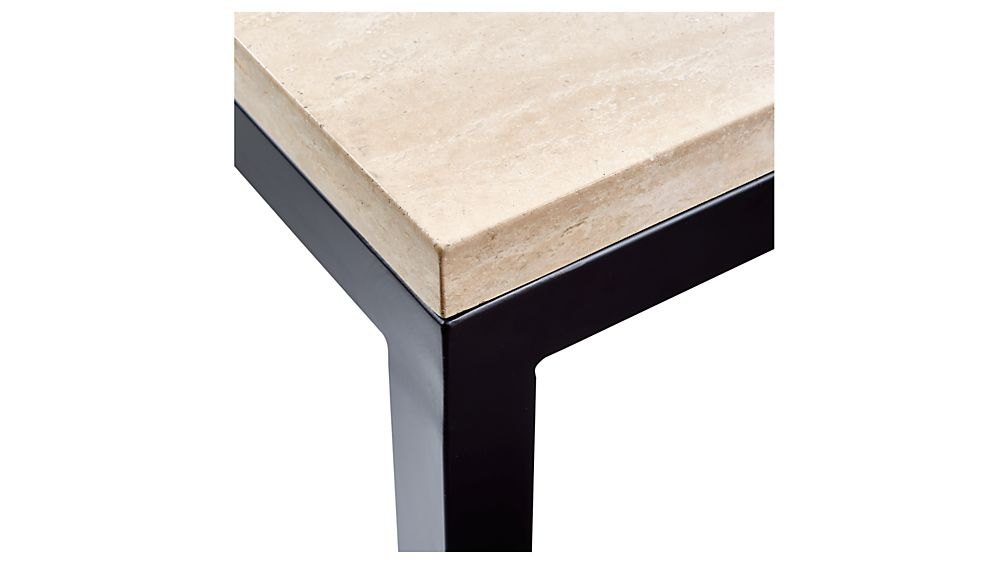 Parsons Travertine Top/ Dark Steel Base 48X16 Console + Reviews with Fashionable Parsons Walnut Top & Brass Base 48X16 Console Tables