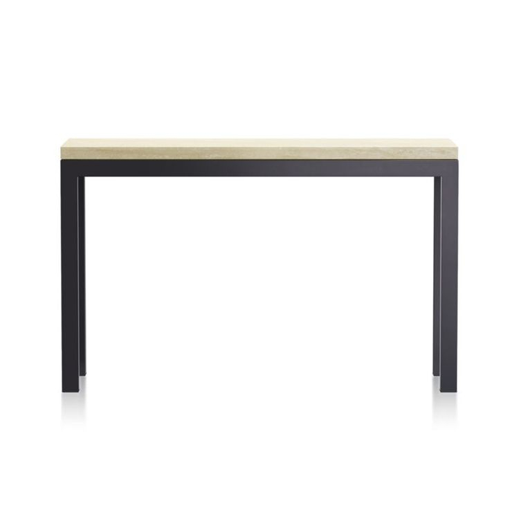 Parsons Travertine Top/ Dark Steel Base 48X16 Console With Regard To Current Parsons Grey Marble Top & Dark Steel Base 48X16 Console Tables (Image 18 of 25)